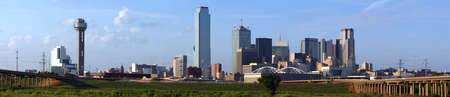dallas: A panoramic shot of buildings in the Dallas Texas Skyline.