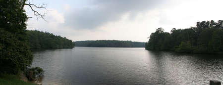 3 shots stiched to make a nice panoramic picture of a lake in the Smokey Mountains