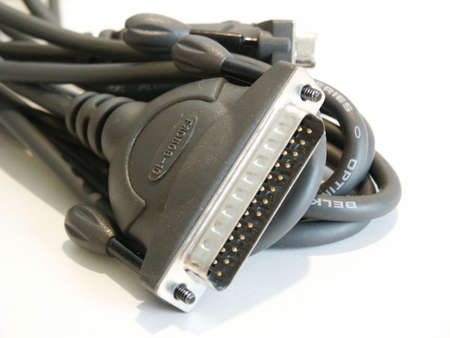 Close up of some computer printer cables.