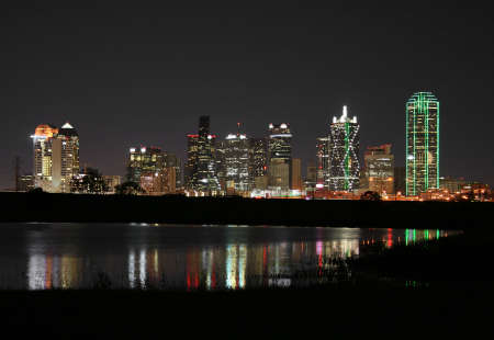Downtown Dallas, Texas at night.