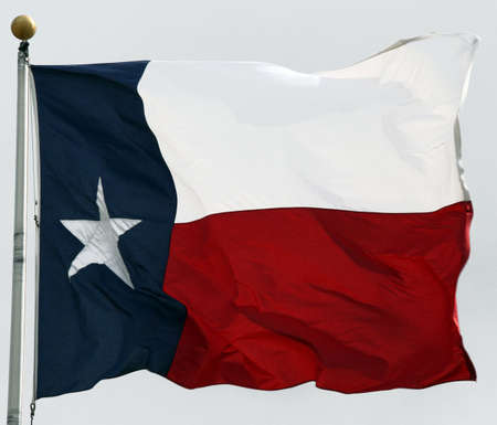 Texas flag flapping in the wind Stock Photo