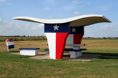 A picnic table at a rest stop in Texas.