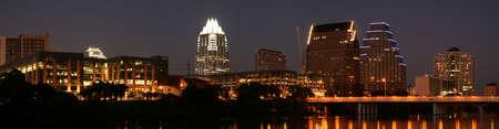 pano: A very pretty night in Austin, Texas. Stock Photo