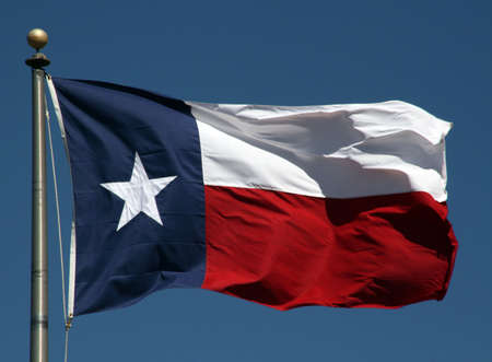 flapping: A Texas flag flapping boldly in the wind.