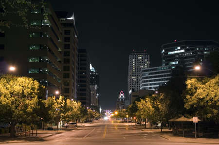 pano: A very pretty night in Austin, Texas. Stock Photo