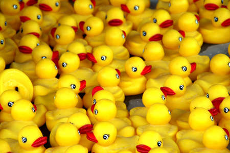 bathtime: A tub of rubber ducks for a game. Stock Photo