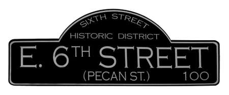 happening: The 6th Street road sign.  6th Street is the party strip in Austin, Texas.  Parties, Live Bands, Bars, Clubs, ... its all happening on 6th Street. Stock Photo