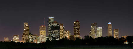 a night panoramic of downtown houston