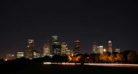 houston: a night panoramic of downtown houston