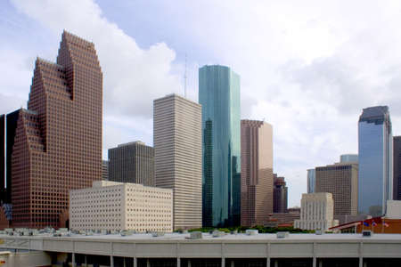 downtown houston texas with a cloudy sky Imagens