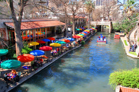 the San Antonio riverwalk and its many colorful sites Stock Photo