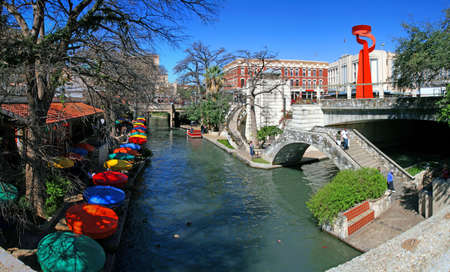 pano: the San Antonio riverwalk and its many colorful sites Stock Photo