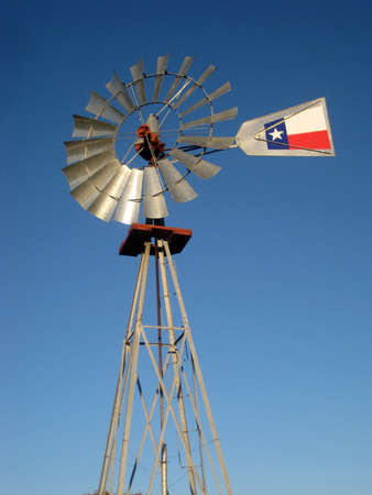 A windmill against the blue Texas sky.