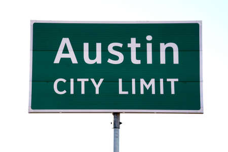 A Austin City Limit sign that you would see when going into Austin, TX.  This is a popular symbol of Austin. Stock Photo