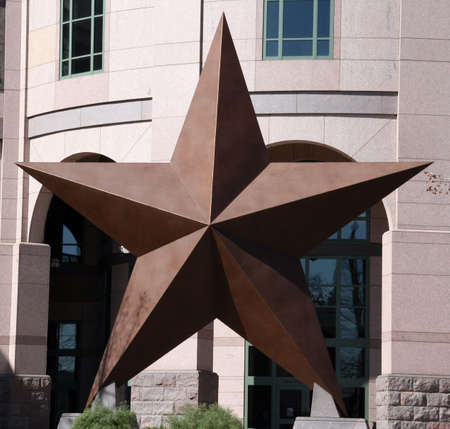 A large metal star which is used in the Texas state seal. Stock Photo