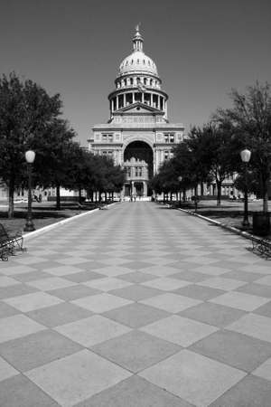 The Texas State Capitol Building entrance from downtown Austin.