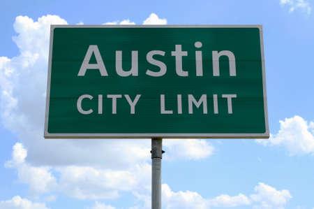Austin 都市制限標識をクローズ アップ。 写真素材