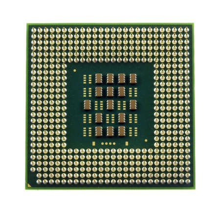processors: a green and gold computer processor chip  Stock Photo