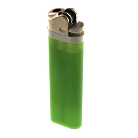 butane: a green disposable lighter isolated on a white background