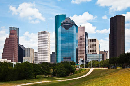 a crisp cityscape of the downtown Houston Texas skyline on a nice summer day Stock Photo