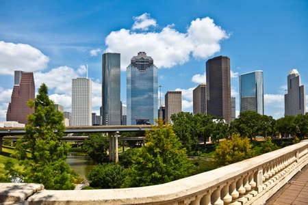 houston: a crisp cityscape of the downtown Houston Texas skyline on a nice summer day Stock Photo