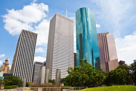 a crisp cityscape of the downtown Houston Texas skyline on a nice summer day photo