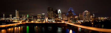 Downtown Austin Texas Cityscape at night from across Lady Bird Lake formally known as Town Lake Stock Photo - 7765252