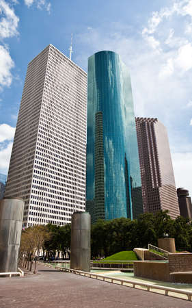a crisp cityscape of the downtown Houston Texas skyline on a nice summer day Imagens