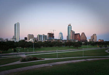 A nice evening in downtown Austin Texas as the sun goes down. photo