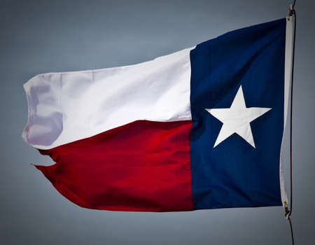 flapping: A new Texas flag flapping in the wind.