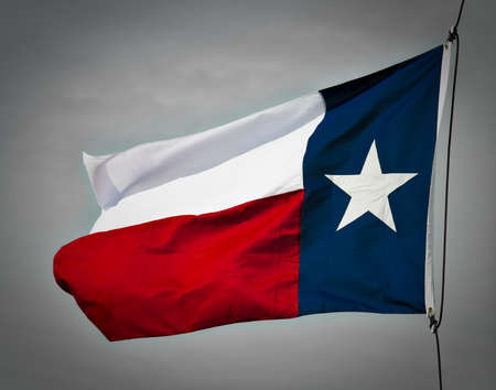 houston flag: A new Texas flag flapping in the wind.