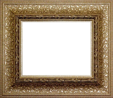 old picture: wooden picture frame border isolated on a white background
