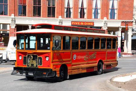 trolly: A public transportation bus in San Antonio, Texas. Editorial