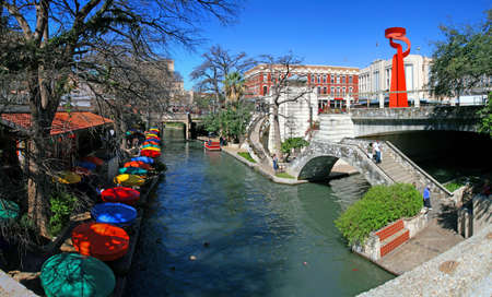 pano: the San Antonio riverwalk and its many colorful sites Editorial