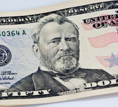 A US Fifty 50 Dollar Bill close up of Grant on a white background Stock Photo - 7765380