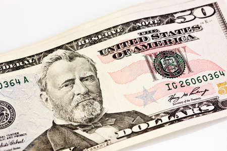 A US Fifty 50 Dollar Bill close up of Grant on a white background Stock Photo - 7765384