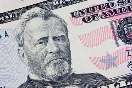 A US Fifty 50 Dollar Bill close up of Grant on a white background Stock Photo - 7765391