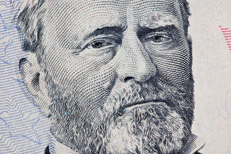 50 dollar bill: A US Fifty 50 Dollar Bill close up of Grant on a white background