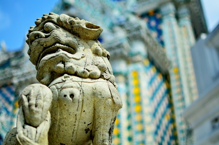 thailand flood: The Lion sculpture in Wat Phra Kaew, Bangkok, Thailand.