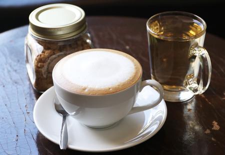 coffee with tea and sugar  bowl  selective focus 写真素材