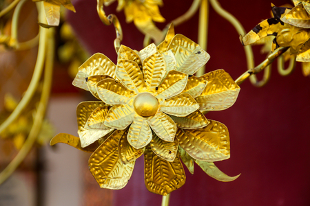 Gold metal flower from hand made