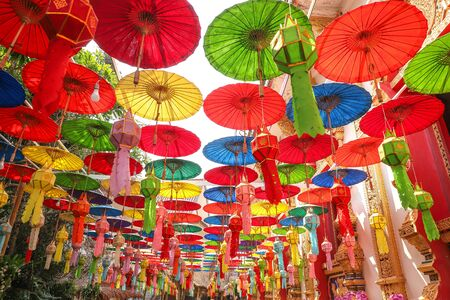 A variety of colored paper umbrellas