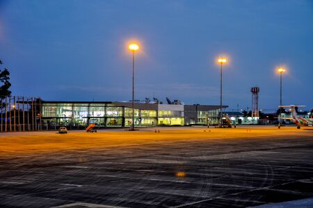 Airport image at night Without plane