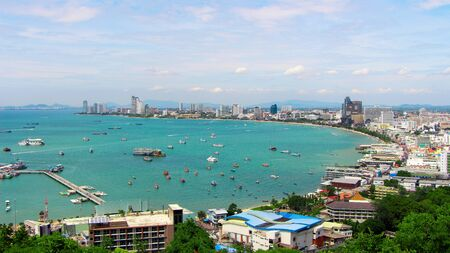 High angle view of Pattaya, Thailand , High view, sea and city views with boats in the water