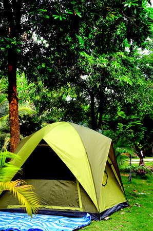 木々 の下のテント。 写真素材