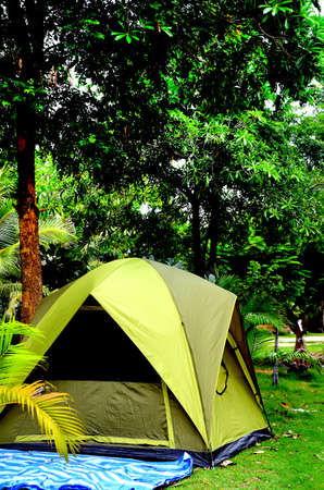 Tent under the trees.