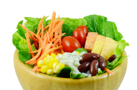 Organic salad made from fresh fruit vegetable and grains