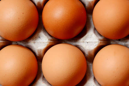 Chicken eggs on tray in supermarket. Stock Photo