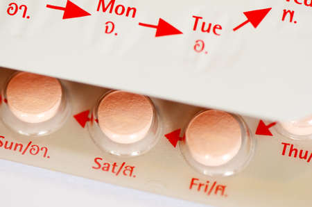 Contraceptive Pill with Thai and English Instructions