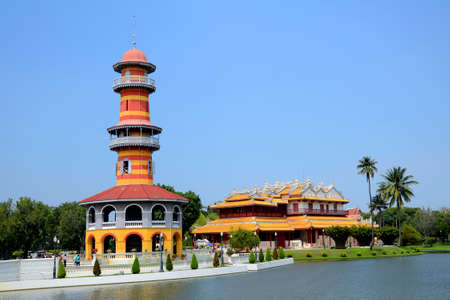 Tower and Chinese style pavilion, Bang-Pa-In Palace at Ayudhaya province, Thailand